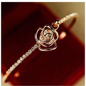 Jewelry - Crystal Rose Flower Gold Bangle Cuff Bracelet